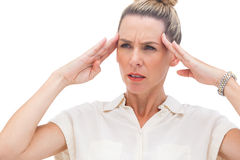 Businesswoman with migraine Royalty Free Stock Image