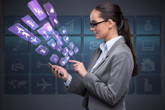 The businesswoman with mobile in business concept Royalty Free Stock Images