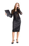 Businesswoman with mobile phone and document case Royalty Free Stock Image