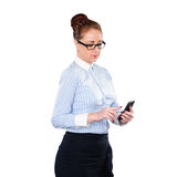 Businesswoman with mobile phone in hand Stock Photos