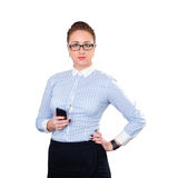 Businesswoman with mobile phone in hand. Royalty Free Stock Photo
