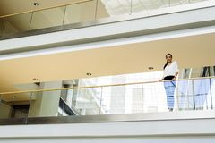 Businesswoman in a modern building royalty free stock images