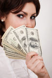 Businesswoman with money Royalty Free Stock Images
