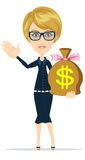 Businesswoman with money bag. Stock Photography