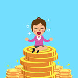 Businesswoman with money coins Stock Photography