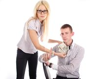 Businesswoman with money and man Royalty Free Stock Photos