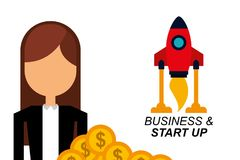 Businesswoman money rocket business and start up Stock Images