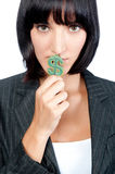Businesswoman with Money Symbol Royalty Free Stock Image