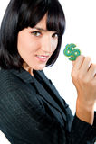 Businesswoman with Money Symbol Royalty Free Stock Photo