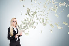 Businesswoman and money Stock Images