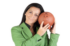Businesswoman with a moneybox Stock Photos