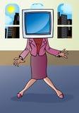 Businesswoman monitor face Stock Photo
