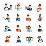 Businesswoman mother flat icons set. Businesswoman mother daily routine successful work family and fitness combination flat icons set abstract vector isolated Stock Image