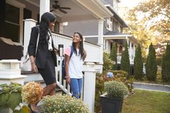 Businesswoman Mother Walking Daughter To School On Way To Work royalty free stock photos