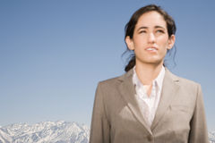 Businesswoman and mountain Royalty Free Stock Photo