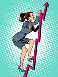 Businesswoman mountaineer schedule of sales. Pop art retro style. Business concept of success and work Royalty Free Stock Photo