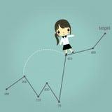 Businesswoman move to goal Stock Photo