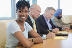 Businesswoman With Multiethnic Colleagues Stock Photo