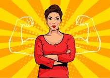 Businesswoman with muscles pop art retro style. Strong Businessman in comic style. Success concept vector illustration stock illustration