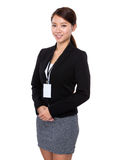 Businesswoman with name badge Stock Photography