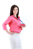 Businesswoman with name badge. Beautiful smiling business woman isolated on white Stock Photo
