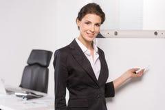 Businesswoman near whiteboard. Royalty Free Stock Image