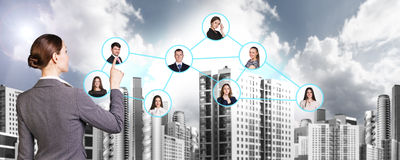 Businesswoman nearby portrait icons. Royalty Free Stock Photography