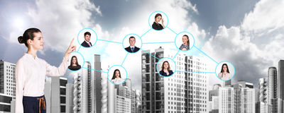 Businesswoman nearby portrait icons. Royalty Free Stock Photo