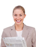A businesswoman with a newspaper Royalty Free Stock Photography