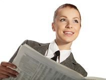 Businesswoman with newspaper Royalty Free Stock Images