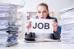 The businesswoman not coping with workload and resigning Royalty Free Stock Photo