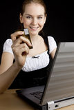 Businesswoman with a notebook Stock Images