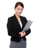 Businesswoman with notebook computer Royalty Free Stock Images