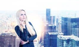 Businesswoman on NY background multiexposure Stock Photo