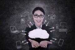 Businesswoman offers cloud computing vector illustration