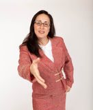 Businesswoman offering her hand Stock Images
