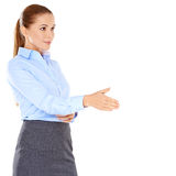 Businesswoman offering to shake hands Stock Images