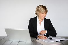 Businesswoman at office Stock Photos