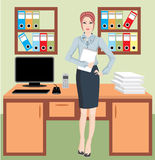 Businesswoman in office. Vector. no gradient. no mesh. colour full Royalty Free Stock Photo