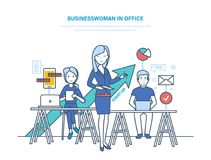 Businesswoman in office. Businesswoman and colleagues, working at work desk. Businesswoman in office. Businesswoman and colleagues, growth business and career Royalty Free Stock Images