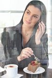 Businesswoman in office cafe Royalty Free Stock Photos