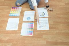 Businesswoman in office in casual shirt. Check document color template. stock image