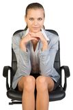 Businesswoman on office chair, with head reclined Royalty Free Stock Photos