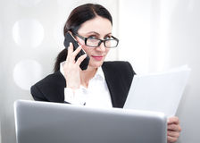 Businesswoman at the office stock photo