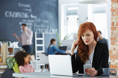 Businesswoman in office. Stylish young businesswoman working on her laptop in modern office Stock Photos