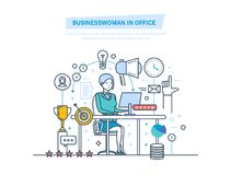 Businesswoman in office. Women working in office at work desk. Businesswoman in office. Businesswoman working at work desk. Workflow control, project management royalty free illustration