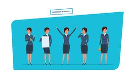 Businesswoman in office work situations. Work with documents, archives, projects. Businesswoman in office work situations concept. Work with documents, archives Stock Photo