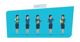 Businesswoman in office work situations. Work with documents, accounting, reports. Royalty Free Stock Image