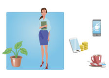 Businesswoman, office worker, employee, manager.  on white. Business Icons. Business design. Vector illustration. Stock Photography