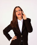 Businesswoman on ohone Royalty Free Stock Image